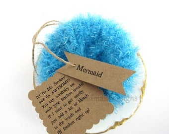 Kitchen Scrubby TRIO~Mermaid~Reuseable Scrubbie~Pot Scrubby~Green Living~handmade scrubby~Kitchen Cloth~Scrubby Pad