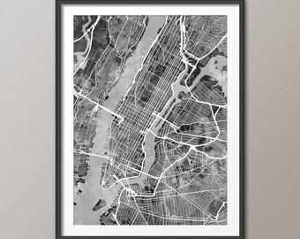 New York City Street Map USA, Map of NYC, Art Print (2489)