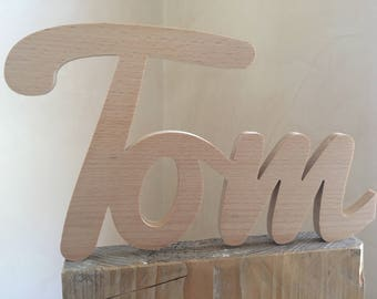 Tom-Name of wood/wooden lettering