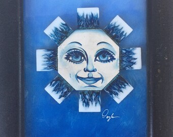Smiling Blue Sun Face Painting