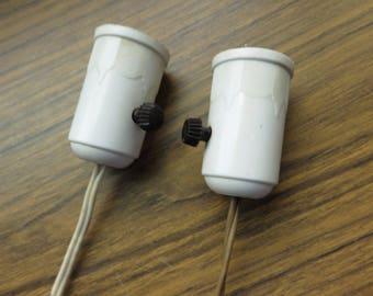 Vintage Pair of Plastic 1950's Lamp Socket Parts Leviton