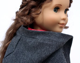 SAMPLE SALE - Fits like American Girl Doll Clothes - Hooded Duster Cardigan in Charcoal