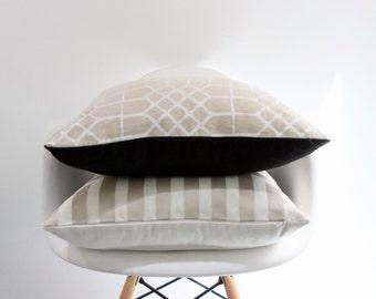 Penn Grid 20x20 pillow cover handprinted in pearl on natural organic hemp