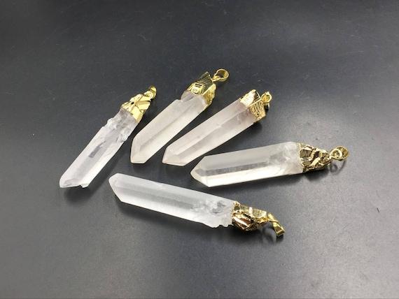 Wholesale raw quartz point pendant rock crystal quartz pendant gold wholesale raw quartz point pendant rock crystal quartz pendant gold plated gemstone pendants point pendant charm 5piecesset from stunninggem on etsy studio mozeypictures Image collections