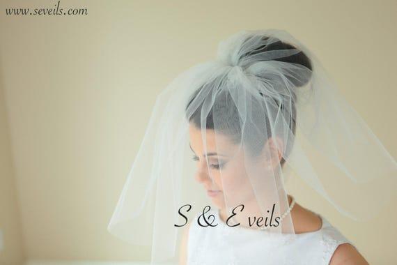Short Wedding Veil - Raw Edge veil with metal comb