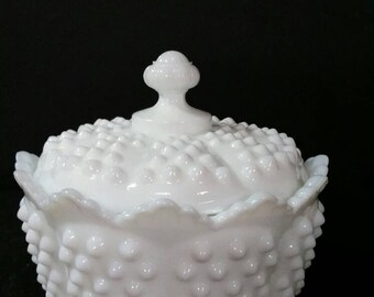 Vintage Fenton hobnail milk glass lidded candy dish