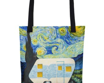 Starry Night Vintage Trailer All-Over Tote bag
