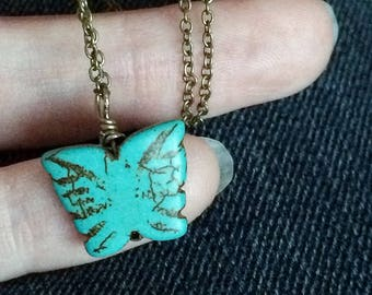 broken into Beautiful - made new butterfly necklace - turquoise gemstone butterfly pendant necklace - Christian jewelry