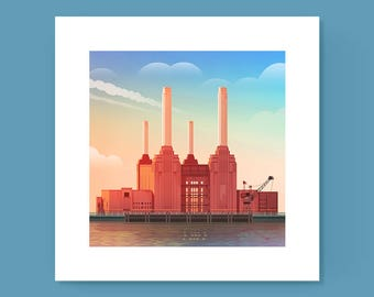 Battersea Power Station Print, London painting, digital London picture, Battersea print