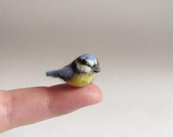 Needle felted blue tit miniature