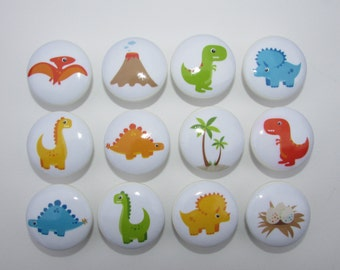 Dinosaur Dresser Drawer Knobs Set of 12