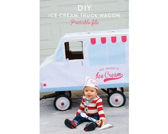 DIY Ice Cream Truck Wagon INSTANT DOWNLOAD Printable Halloween party photo prop by Itsy Belle