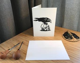 Handprinted Linocut Raven Greeting Card