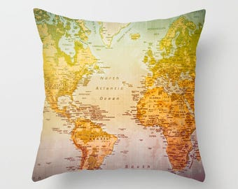 World Map Pillow, Colorful Art, Home Decor, Map, Colors, Country, Continents, Countries, Colorful World, Colorful Pillow, Map Pillow