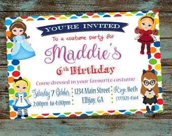 Costume party invite etsy costume party invitation costume birthday party invitation girl birthday dress up birthday filmwisefo Image collections