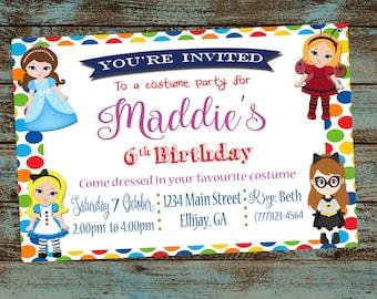 Costume party invite etsy costume party invitation costume birthday party invitation girl birthday dress up birthday stopboris Gallery