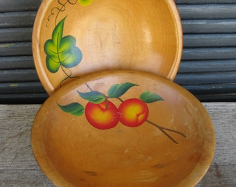 painted wooden bowls set of 2 rustic folk art bowls tole painted bowls farmhouse country kitchen