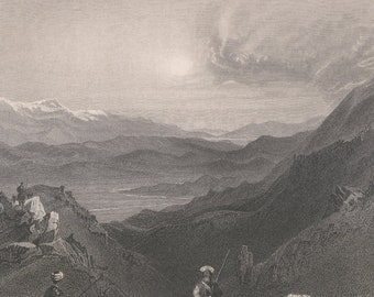 Lebanon 1839, Djebel Sheich and Mount Hermin, From the Top of Lebanon, Old Antique Vintage Engraving Art Print, Man, Goat, Camel, Traveler