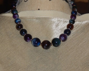 Vintage Marble Bead Necklace Plastic Marbled Purple Blue Green Swirl Beaded Necklace