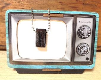 Vintage Wooden Letterpress D Necklace, Necklace Typography Necklace, Letter Press Pendant