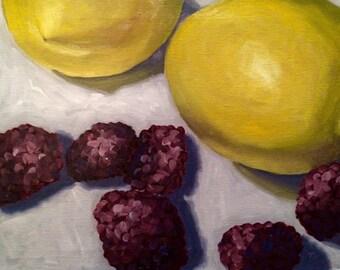 painting of Lemons and blackberries, still life, oil by Velma Serrano