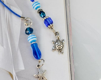 Summer Beach Beaded Bookmark, Beach Wedding Guest Book mark, White leather thong, Blue glass beads, Book accessories, Book lovers gift