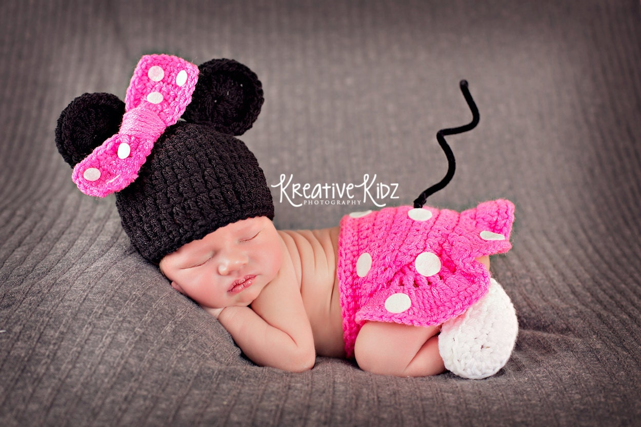 Baby Girl Hat MINNIE MOUSE Inspired Outfit Or MICKEY Newborn