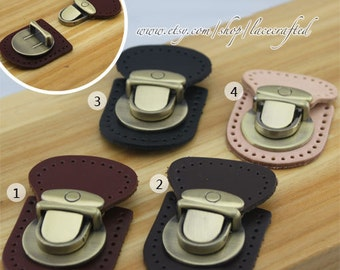 1set Thumb Catch Purse Lock With Genuine Leather Base Bag Buckle Brushed Brass Purse Bag Lock.