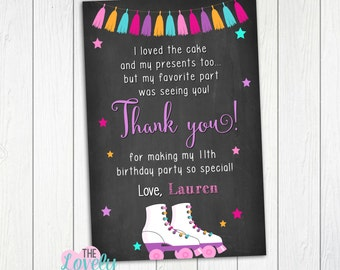 Roller Skates Thank you Card, Roller Skates Party Favors, Roller Skating Party Birthday Party,Skating Party, Personalized PRINTABLE DIY,
