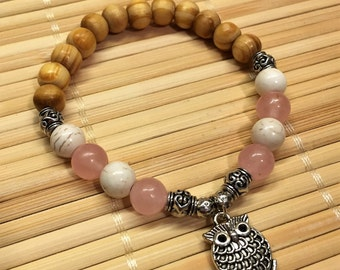 Owl Charm Wrist Mala Beaded Bracelet Howlite and Rose Quartz Gemstone Healing Jewelry