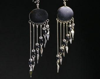 black earrings earrings dangle earrings black jewelry long earrings gift for her black statement earrings silver earrings jewelry @3