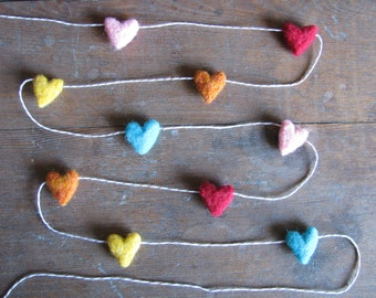 Felted wool heart garland, Bright Rainbow, on tan striped baker's twine, 6ft, Valentine's Day decoration, rainbow heart decor, felt hearts