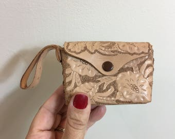 Vintage Tooled Leather Purse Poppies Mini Mint Condition Deadstock