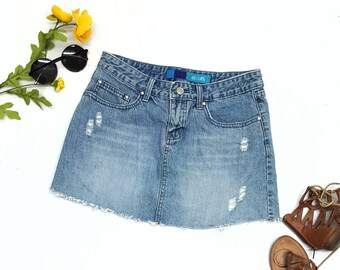 "dELiA*s 90s denim skirt w28"",summer skirt distressed look"
