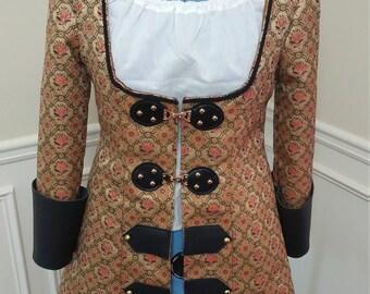 Renaissance Tudor Military Cosplay Underbust Black Gold Steampunk Pirate Corset Floral Buckle Fantasy Coat