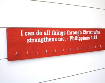 Medal Holder - Christian Bible Verse Philippians 4:13 - Large
