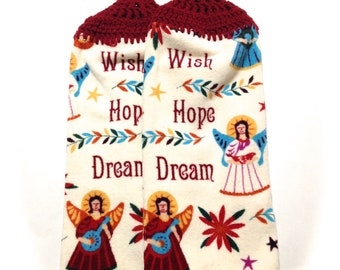 Wish Hope Dream Angel Hand Towels With Claret Crocheted Tops- Pair