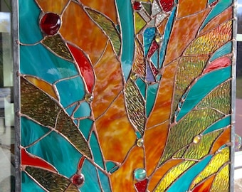 """Stained Glass Panel Abstract Window Nuggets Suncatcher 15""""x18"""""""
