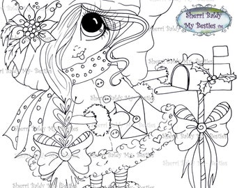 INSTANT DOWNLOAD Digital Digi Stamps Big Eye Big Head Dolls Digi My Bestie TM  Img925 By Sherri Baldy