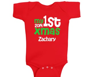My first Christmas personalized bodysuit - baby first christmas infant shirt - pick your colors