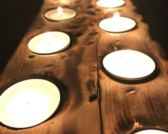 Custom solid wood handmade tealight candleholder