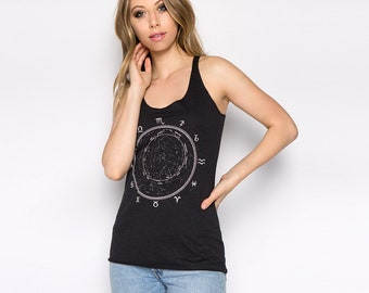 Constellation, Zodiac Tank Top, Women's Tank Top, Ladies Tank Top, Graphic Tee, Birth Sign Shirt, Zodiac Dial, Stars