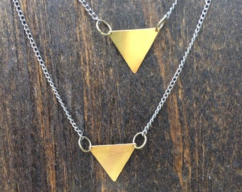 Vintage Brass Triangle Necklace