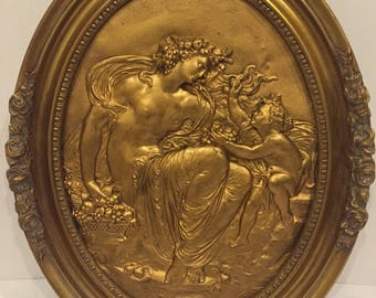 """Antique L. OUDRY French Gilt Relief Copper Plaque w Goddess & Putti 19th C. 19"""""""