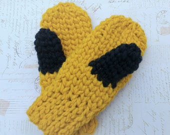Merry Mittens Super Chunky crochet mittens two tone