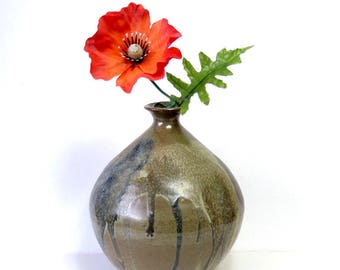 "Vintage Stoneware Weedpot Vase/ Drip Glaze in Earthy Neutrals/ 7"" Wheel Thrown Art Studio Pottery"