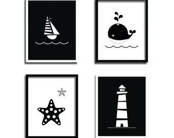 Nautical Printable Set - Nursery Illustration Black and White - Printable Kids Wall Art - Black white nursery - Nursery set prints