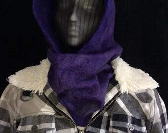 Violet purple hooded merino wool scarf