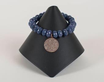 White topaz and Sapphire agate bracelet