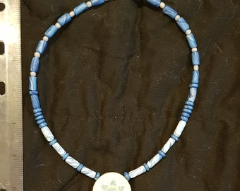 Handmade clay bead necklace blue and white star pendant